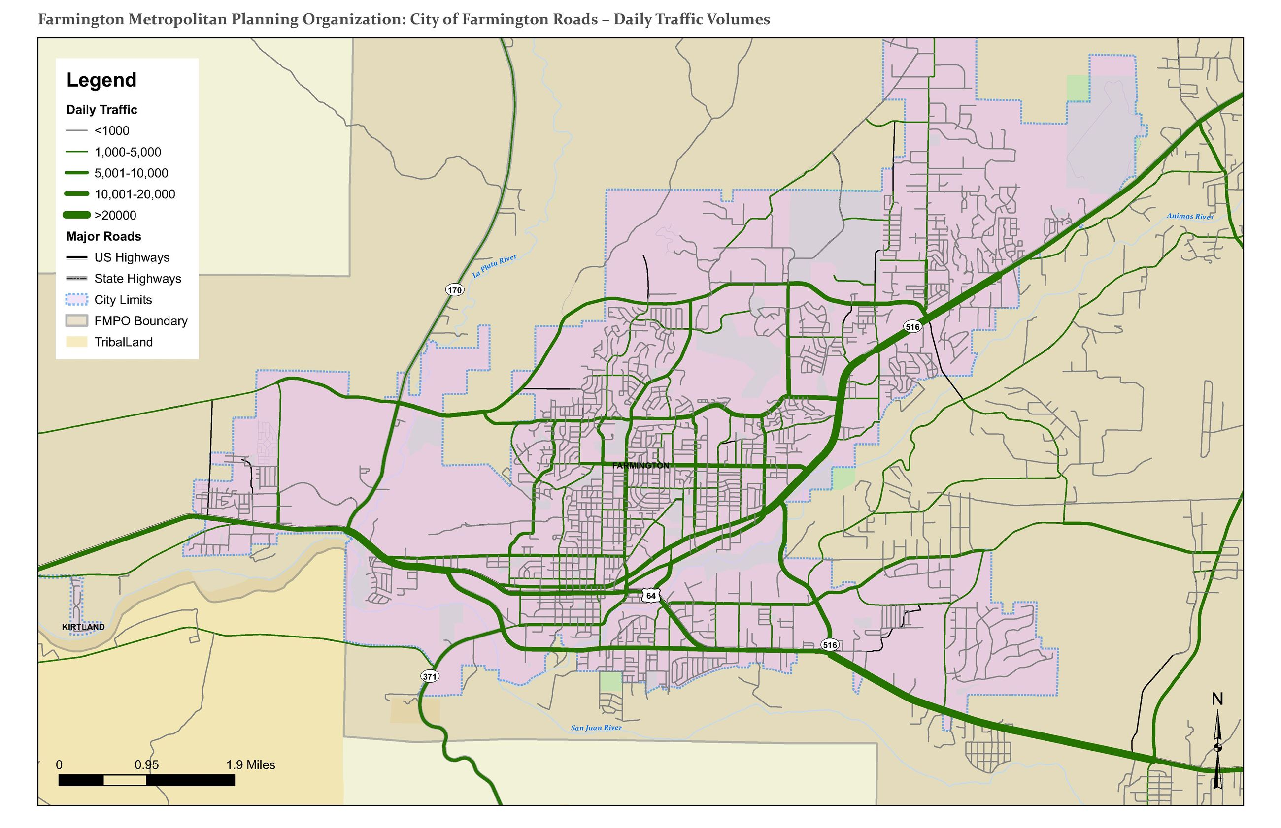 Map - City of Farmington Roads - Daily Traffic Volumes Opens in new window