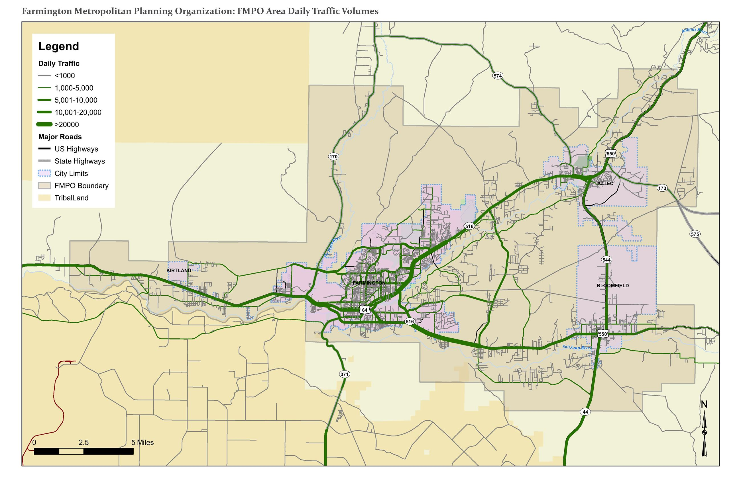 Map - FMPO Area Daily Traffic Volumes Opens in new window