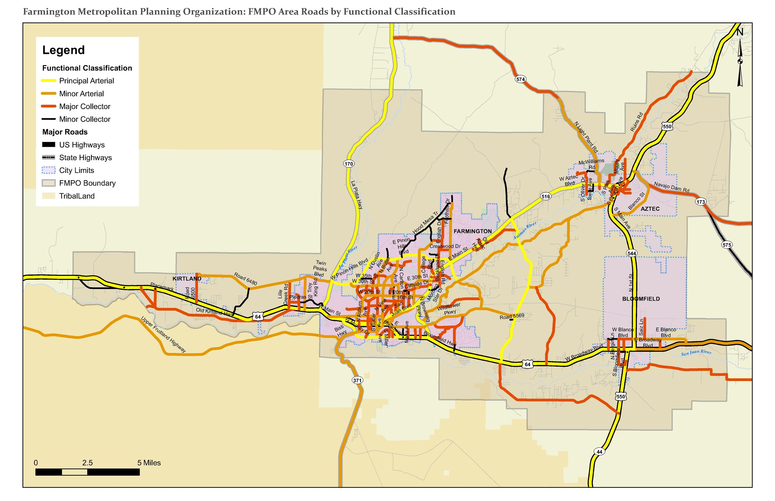 Map - FMPO Area Roads by Functional Classification Opens in new window