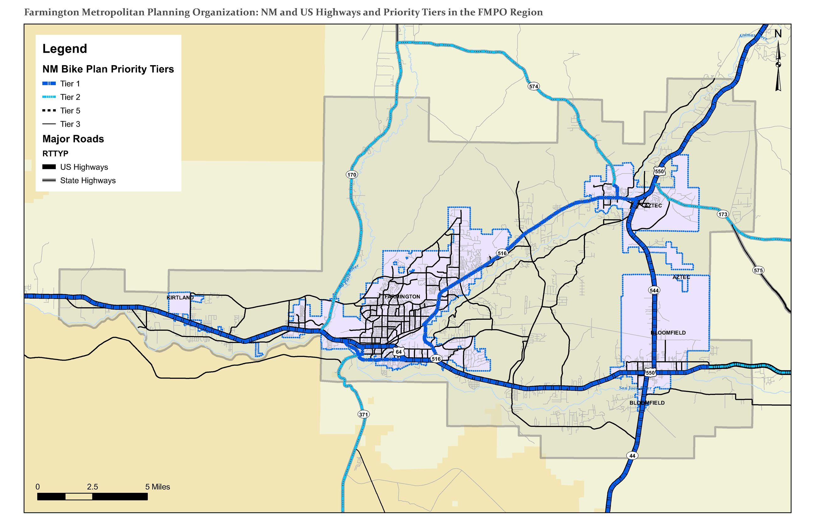 Map - NM Bike Plan Priority Tiers Opens in new window