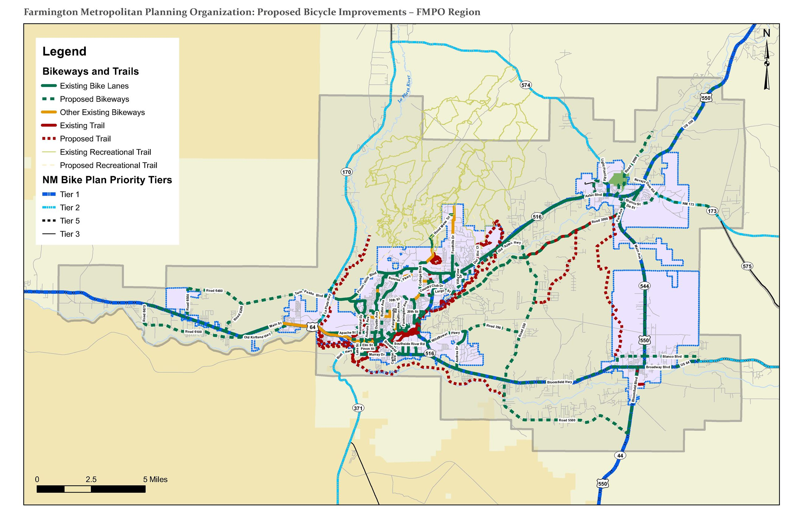 Map - Proposed Bicycle Improvemnts - FMPO Region Opens in new window
